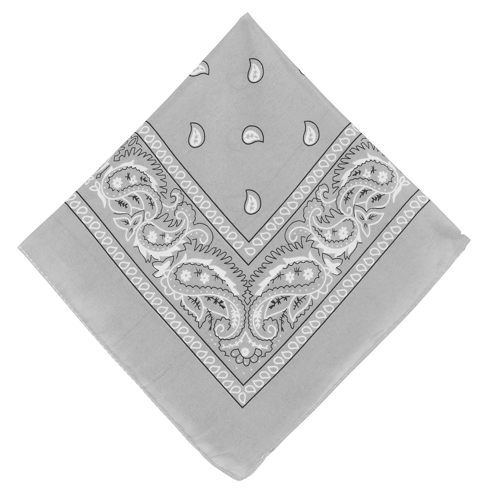 Silver Paisley Bandana, 20in x 20in Image #1
