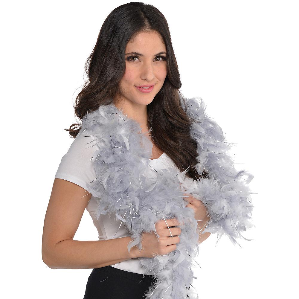 Silver Feather Boa Image #2