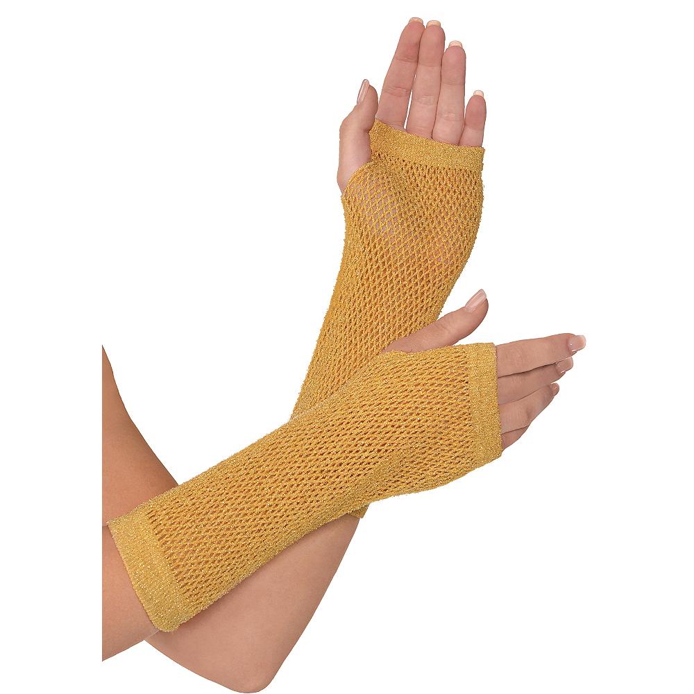 Long Gold Fishnet Gloves Deluxe Image #1