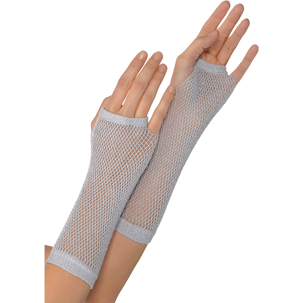 Long Silver Fishnet Gloves Deluxe Image #1