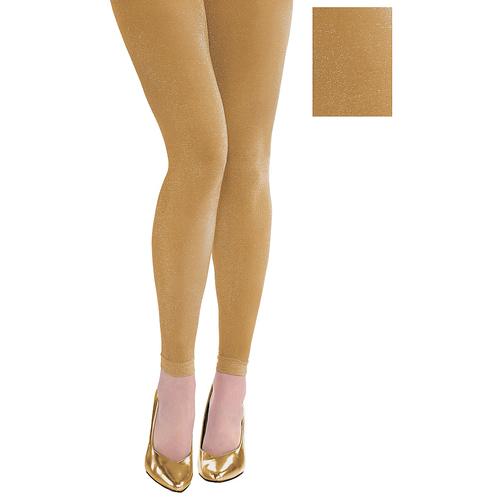24a24289e0ee5 Gold Footless Tights | Party City