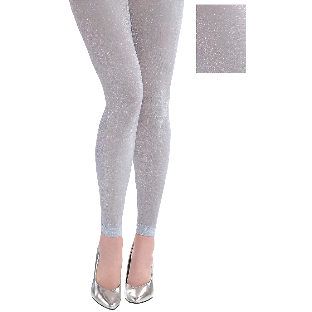 Silver Footless Tights Image #1
