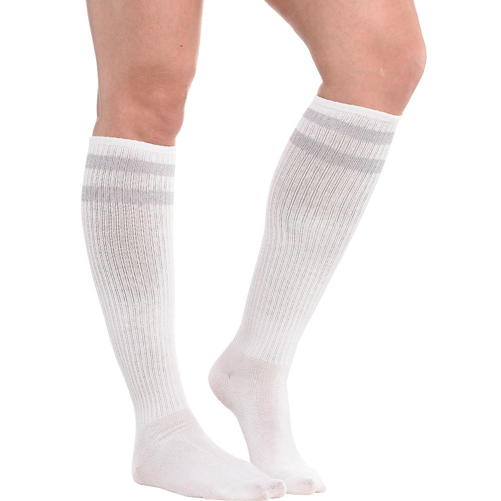 Silver Stripe Athletic Knee-High Socks Image #1