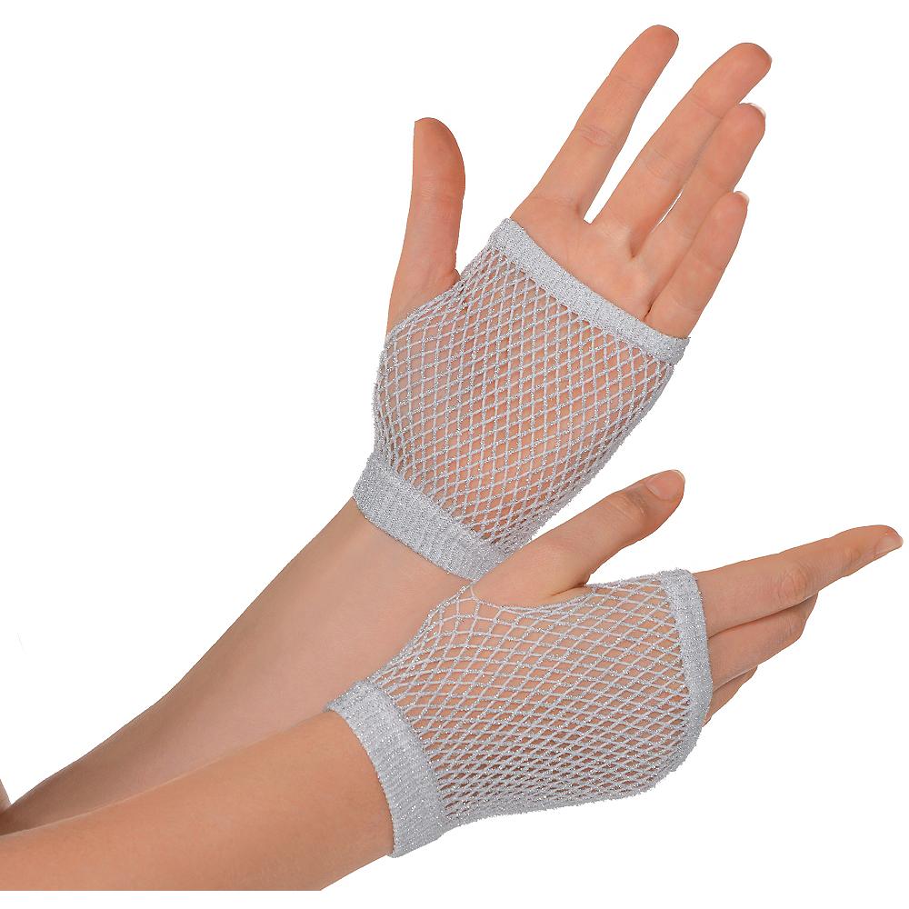 Silver Fishnet Glovelettes Image #1