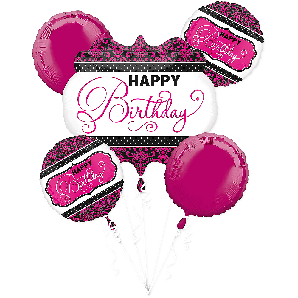 Nav Item for Black & Pink Birthday Balloon Bouquet 5pc Image #1