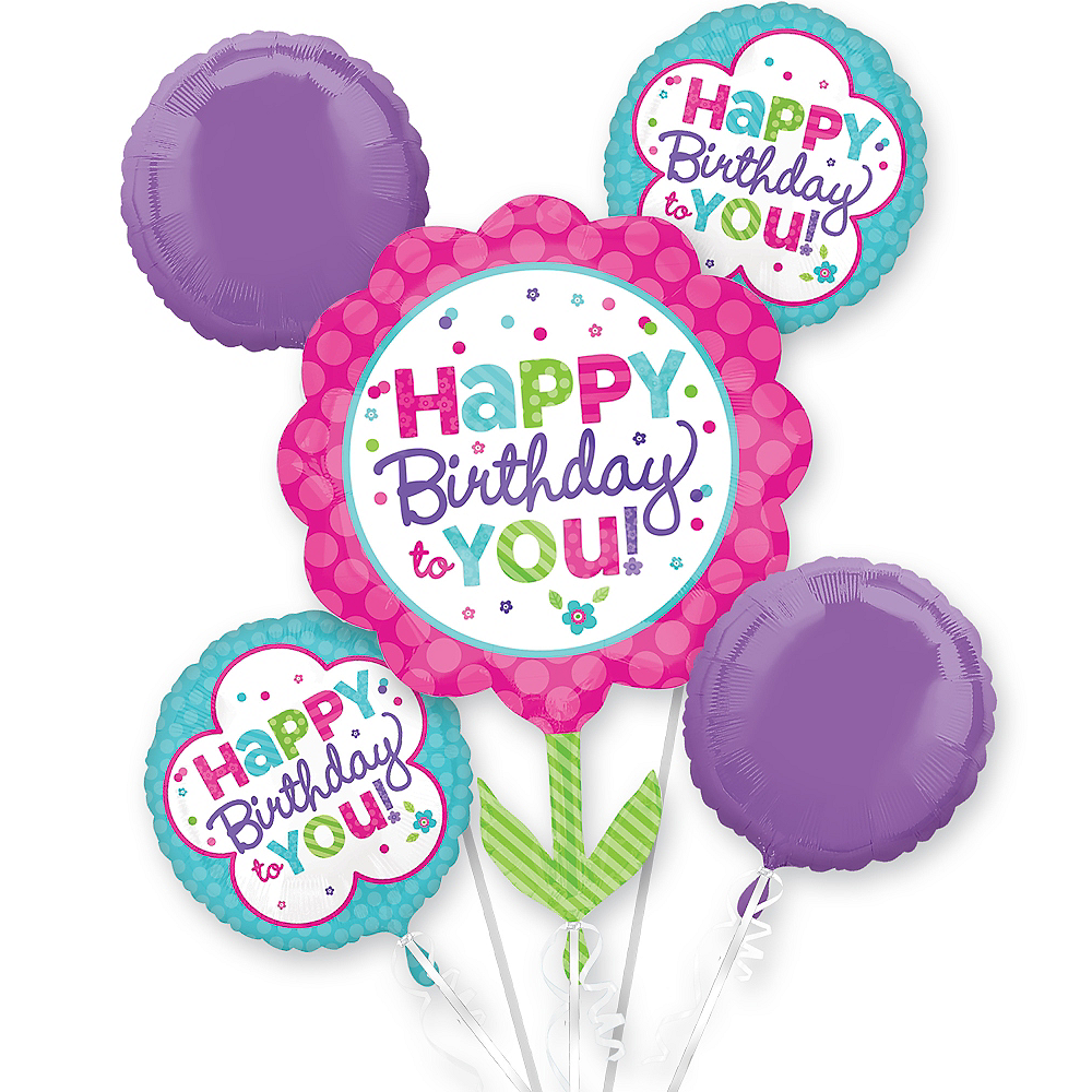 Pastel Birthday Balloon Bouquet 5pc Image 1