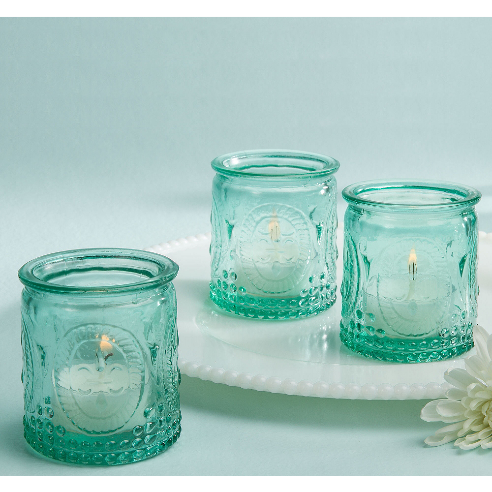 Vintage Blue Glass Tealight Candle Holders Image #1
