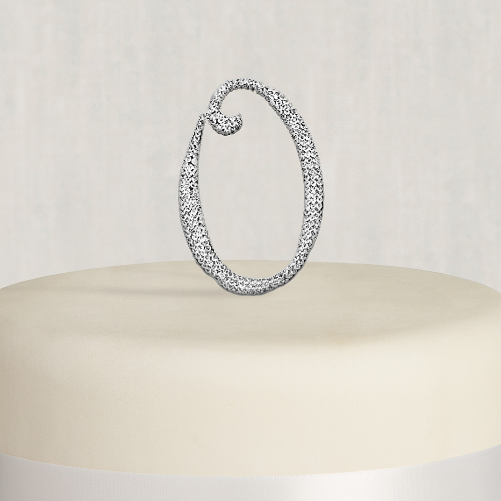Rhinestone Silver Number 0 Cake Topper Image #1