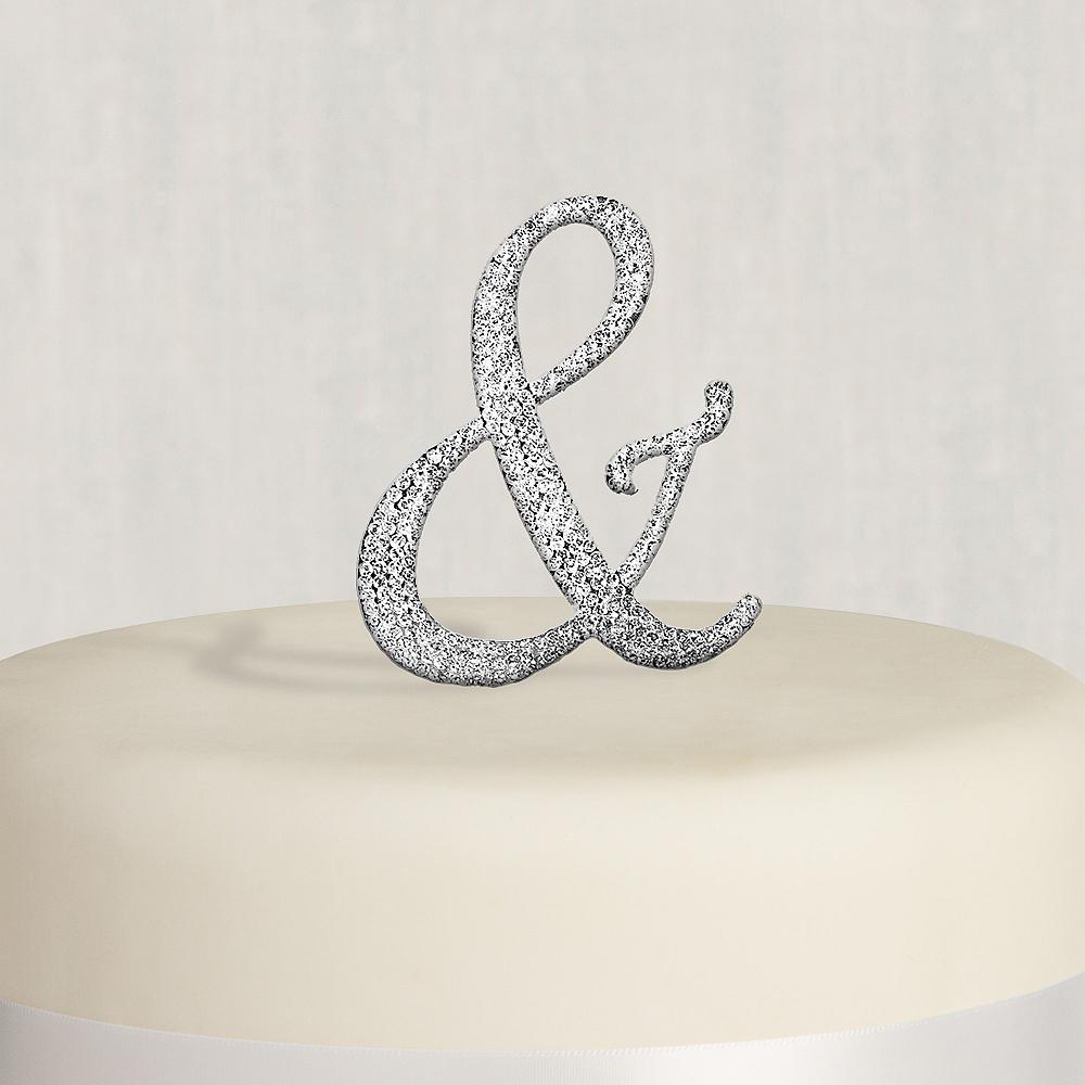 Rhinestone Silver Ampersand Cake Topper Image #1