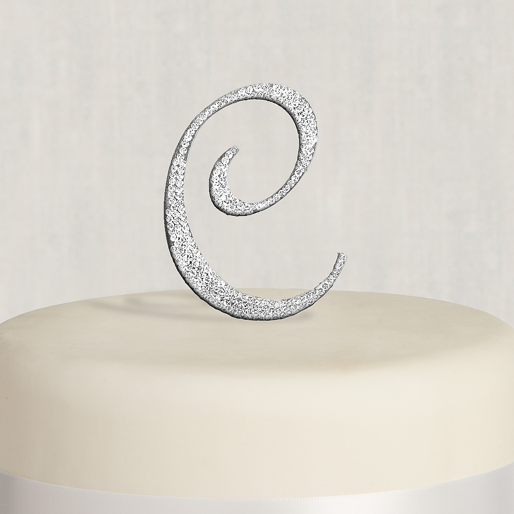 Rhinestone Silver Monogram C Cake Topper Image #1