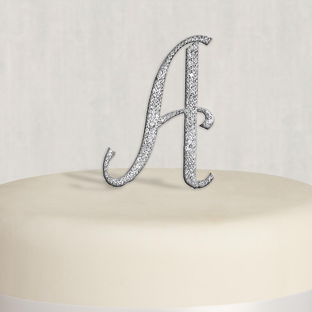 Rhinestone Silver Monogram A Cake Topper Image #1
