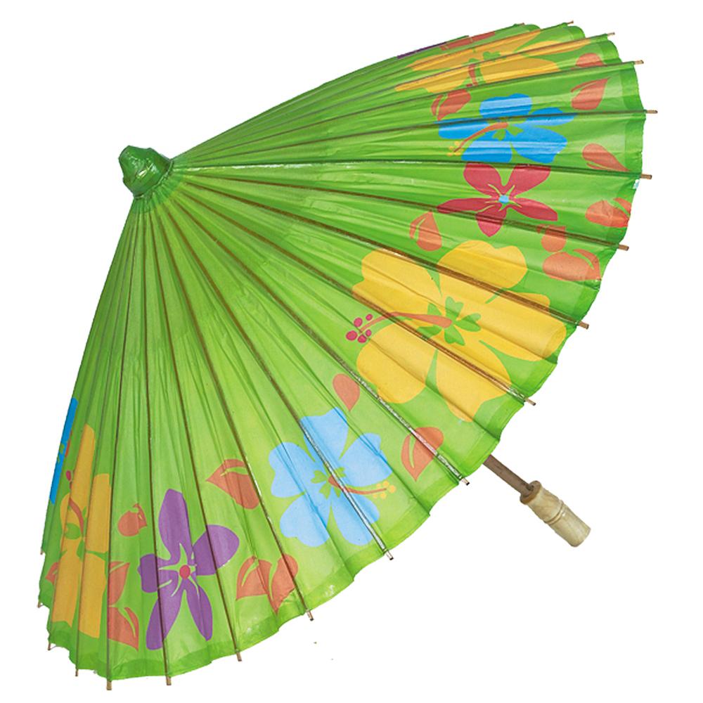 Hibiscus Print Kiwi Green Parasol Image #1