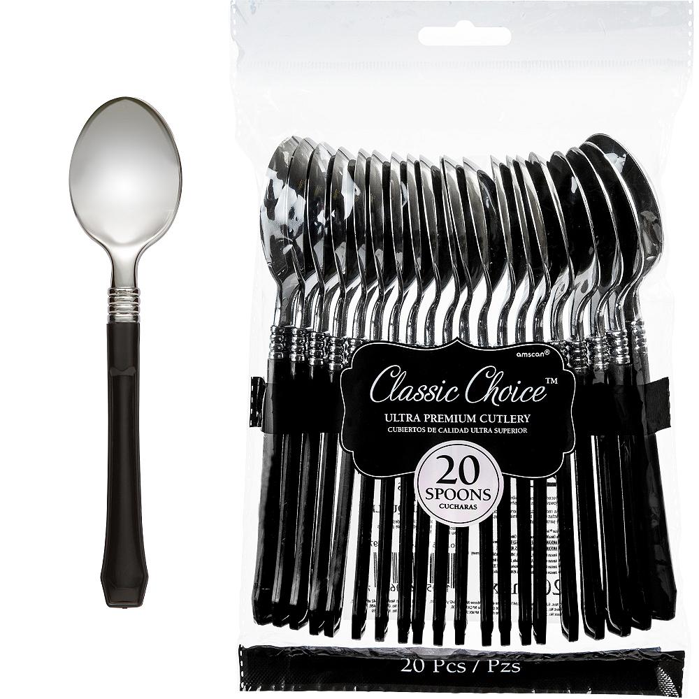Classic Silver & Black Premium Plastic Spoons 20ct Image #1