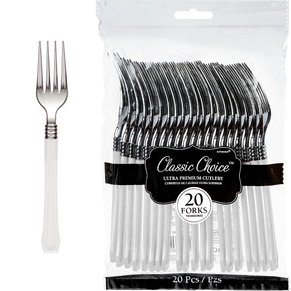 Classic Silver & White Premium Plastic Forks 20ct Image #1