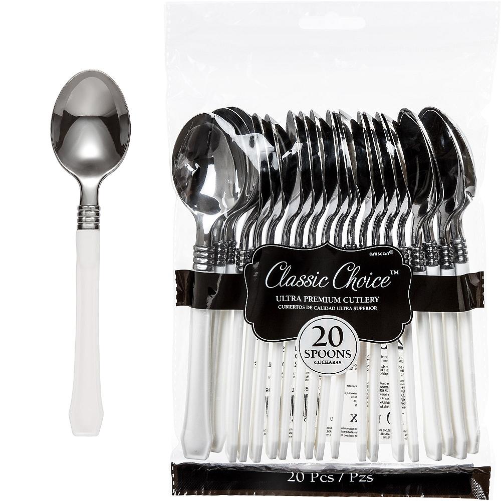 Classic Silver & White Premium Plastic Spoons 20ct Image #1