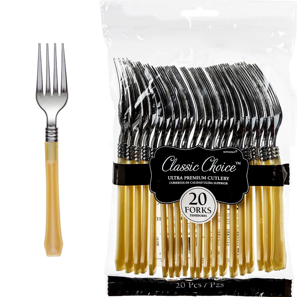 Classic Silver & Gold Premium Plastic Forks 20ct Image #1