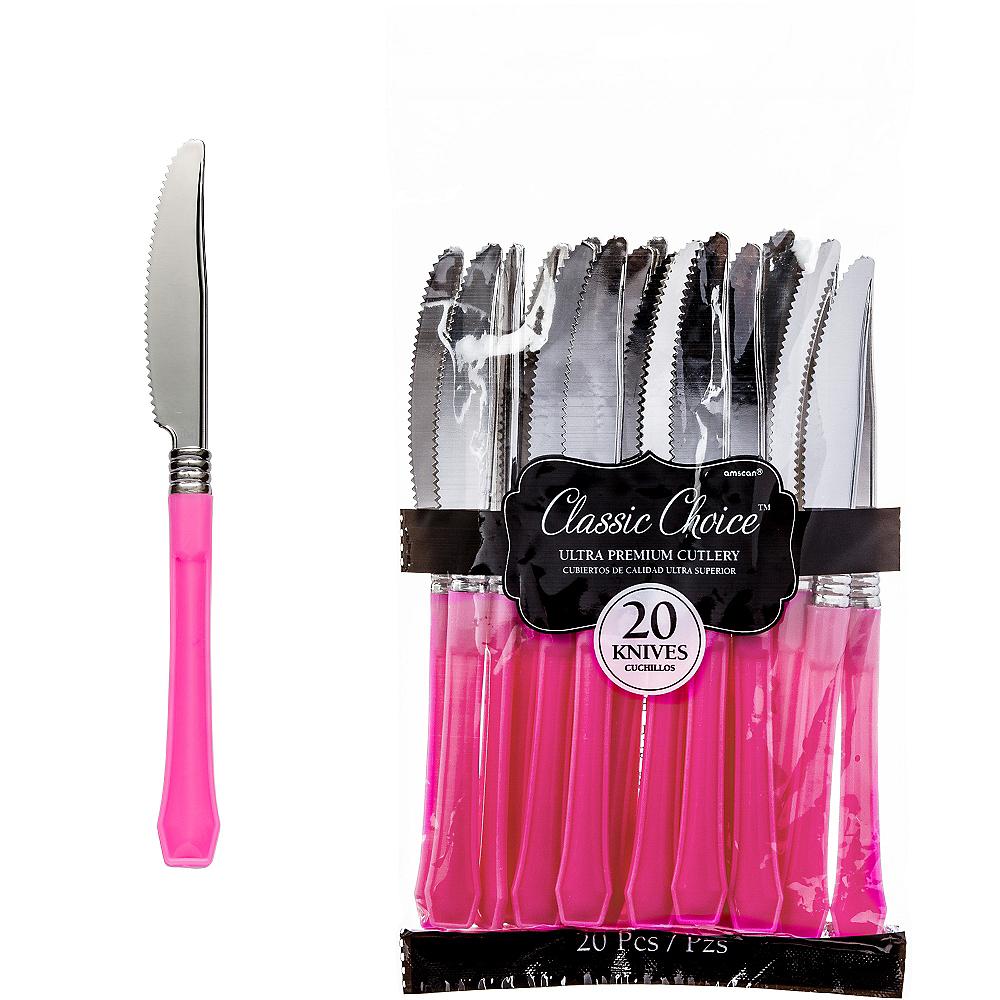 Classic Silver & Bright Pink Premium Plastic Knives 20ct Image #1