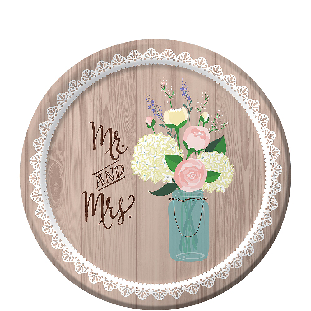 Rustic Wedding Dessert Plates 8ct Image #1