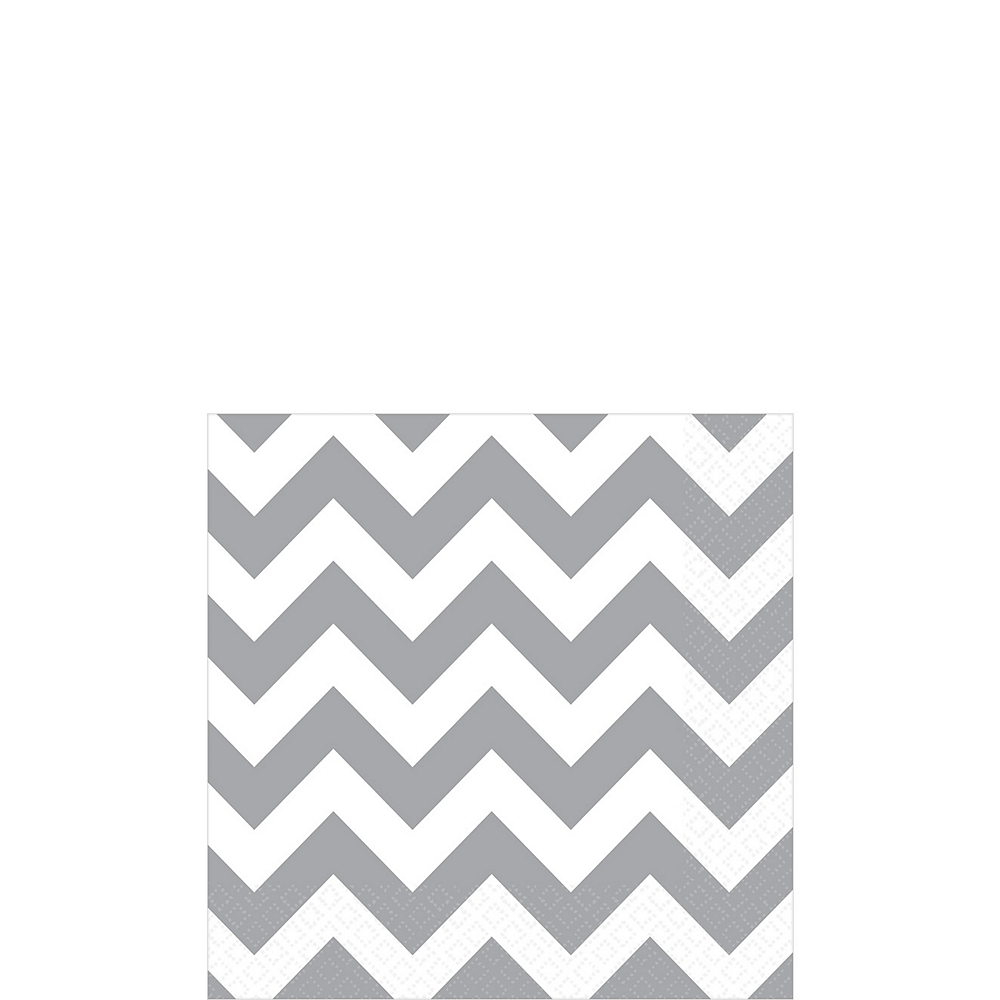 Silver Chevron Beverage Napkins 16ct Image #1