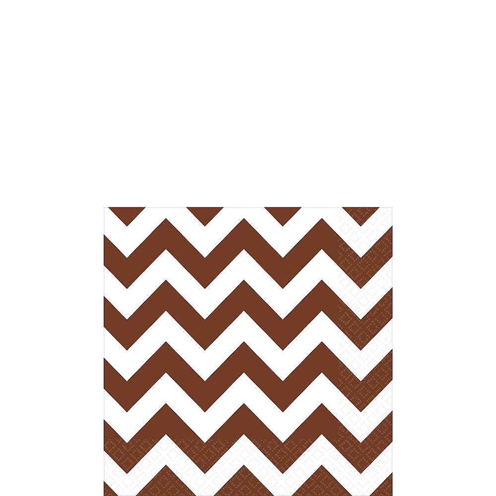 Chocolate Brown Chevron Beverage Napkins 16ct Image #1