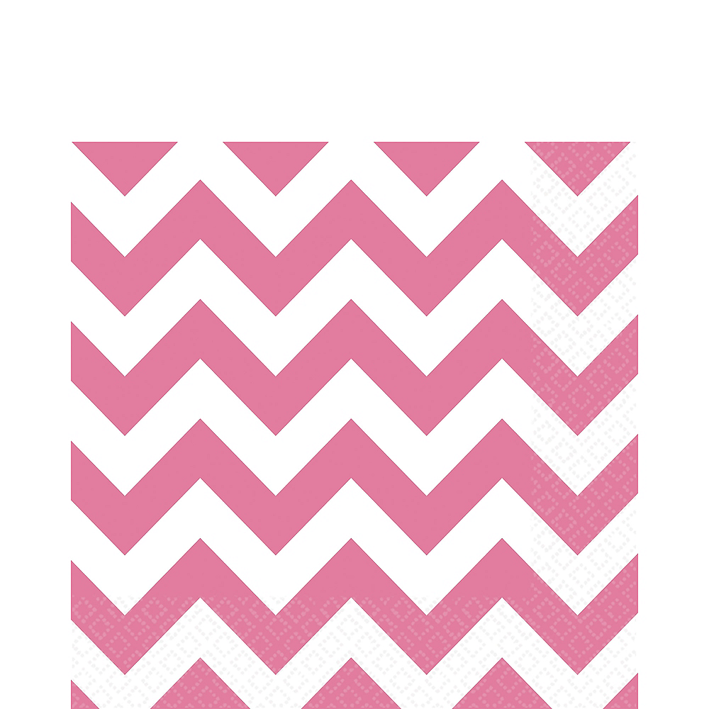 Bright Pink Chevron Lunch Napkins 16ct Image #1