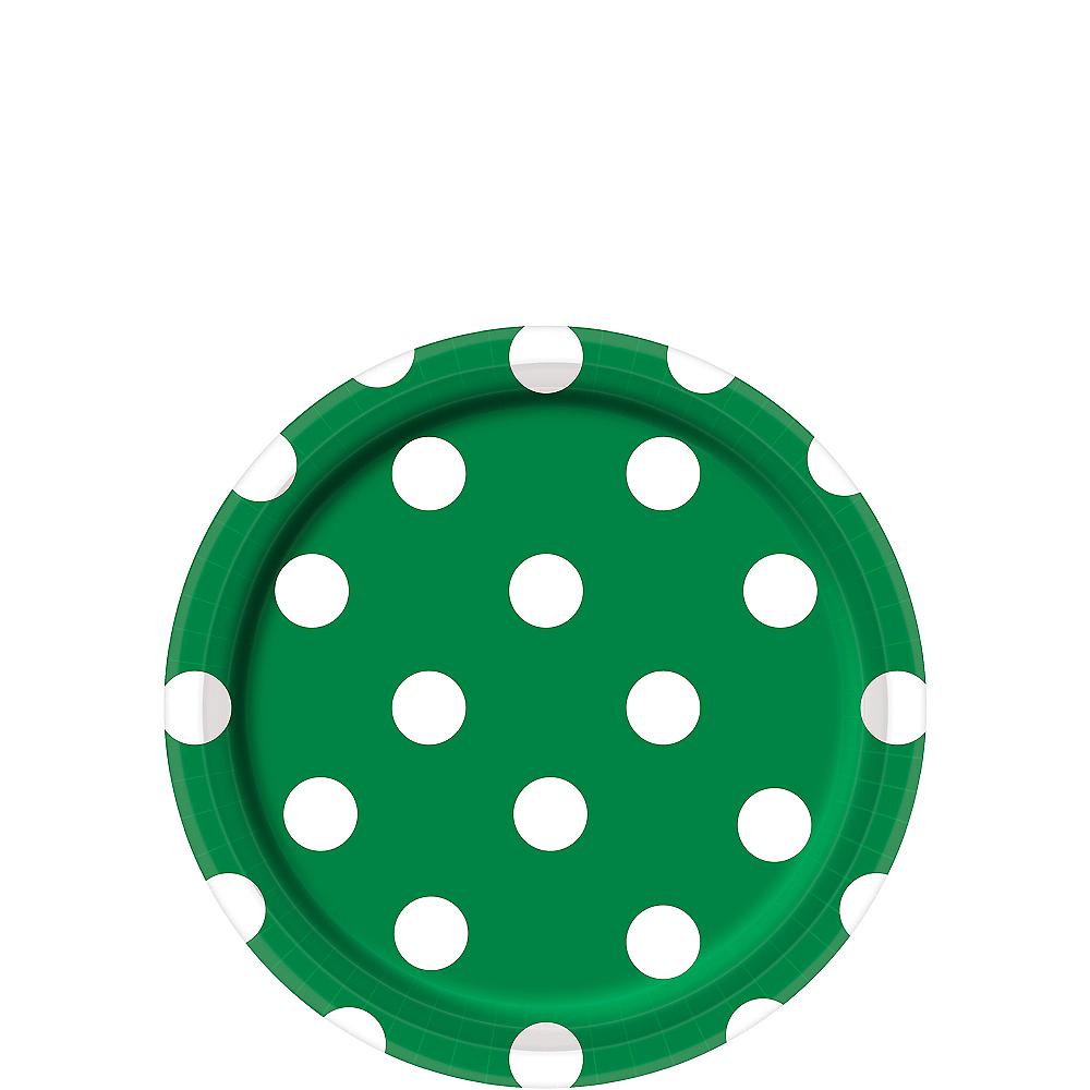 Festive Green Polka Dot Dessert Plates 8ct Image #1