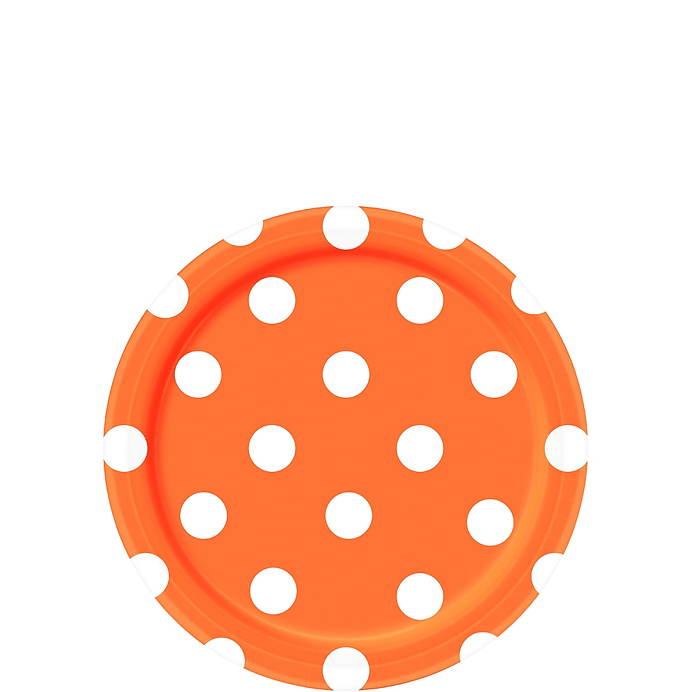 Orange Polka Dot Dessert Plates 8ct Image #1
