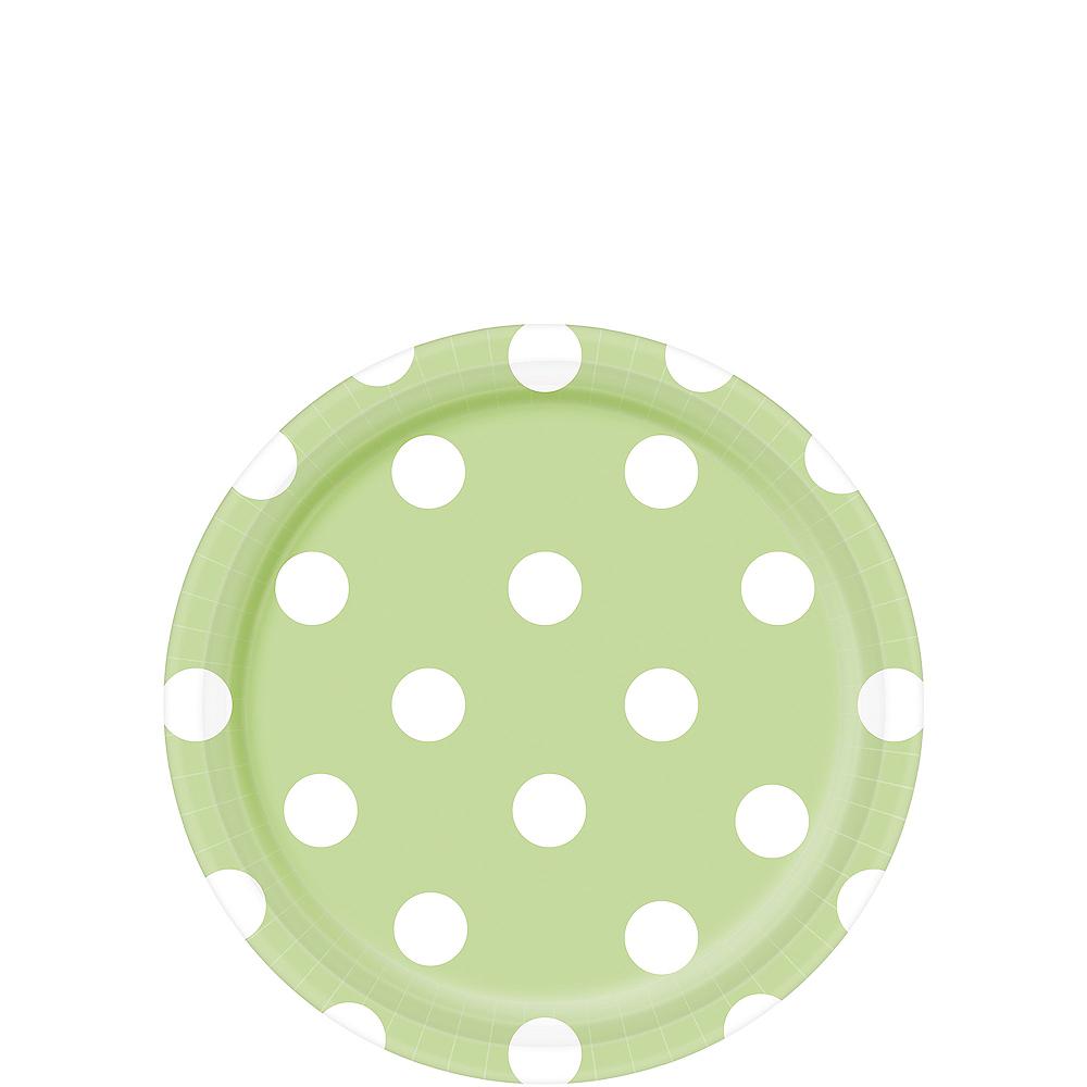 Leaf Green Polka Dot Dessert Plates 8ct Image #1