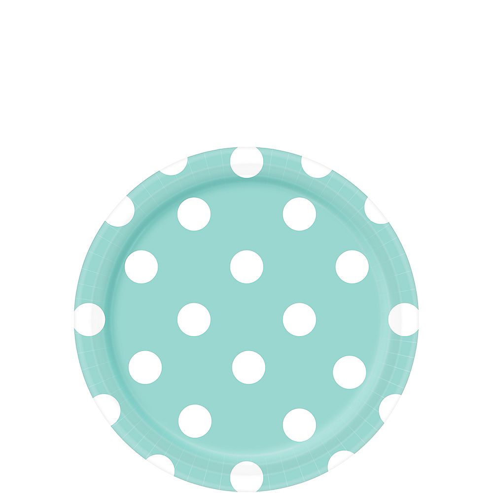 Nav Item for Robin's Egg Blue Polka Dot Dessert Plates 8ct Image #1