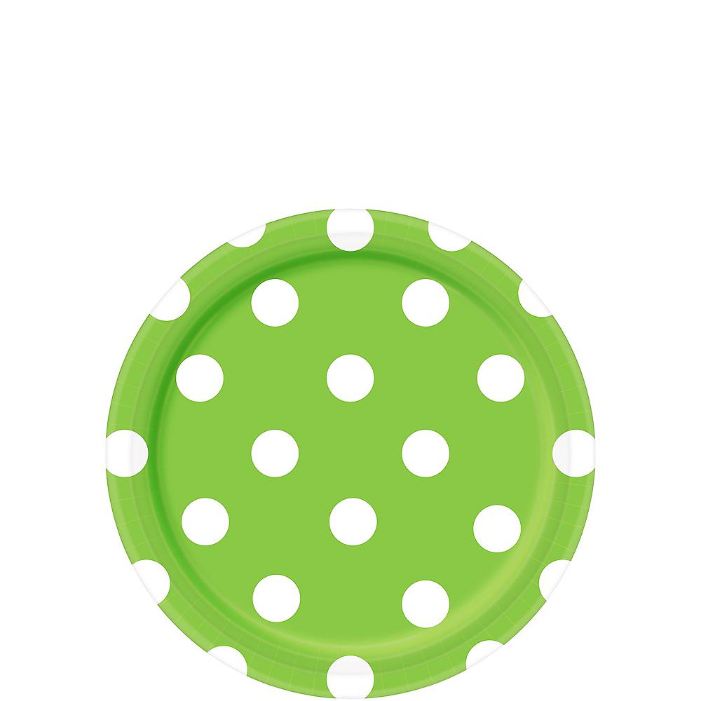 Kiwi Green Polka Dot Dessert Plates 8ct Image #1