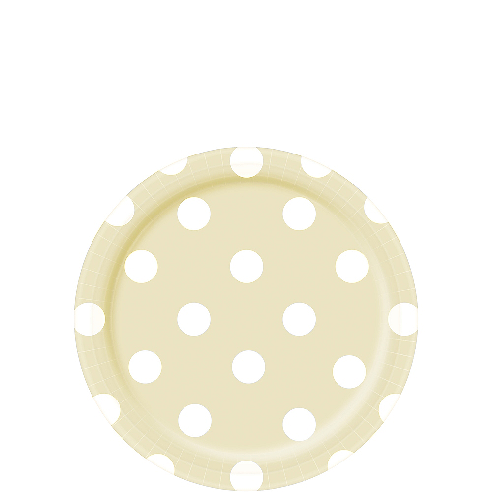 Nav Item for Vanilla Cream Polka Dot Dessert Plates 8ct Image #1
