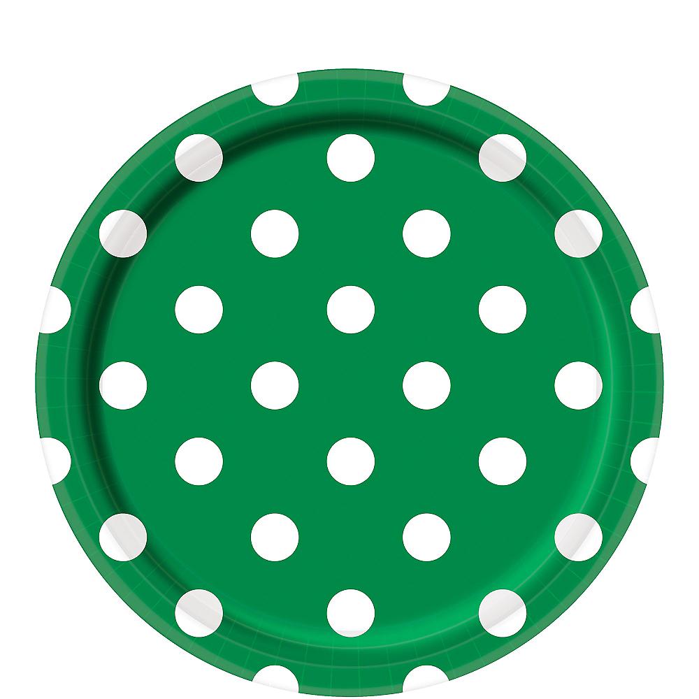 Festive Green Polka Dot Lunch Plates 8ct Image #1