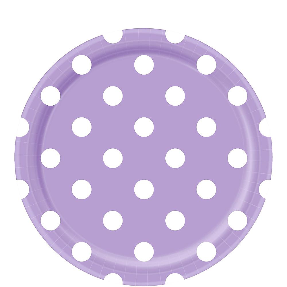 Lavender Polka Dot Lunch Plates 8ct Image #1