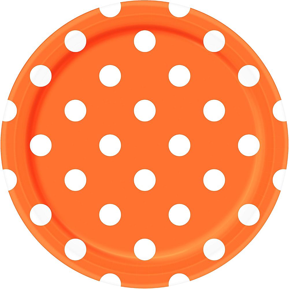 Orange Polka Dot Lunch Plates 8ct Image #1