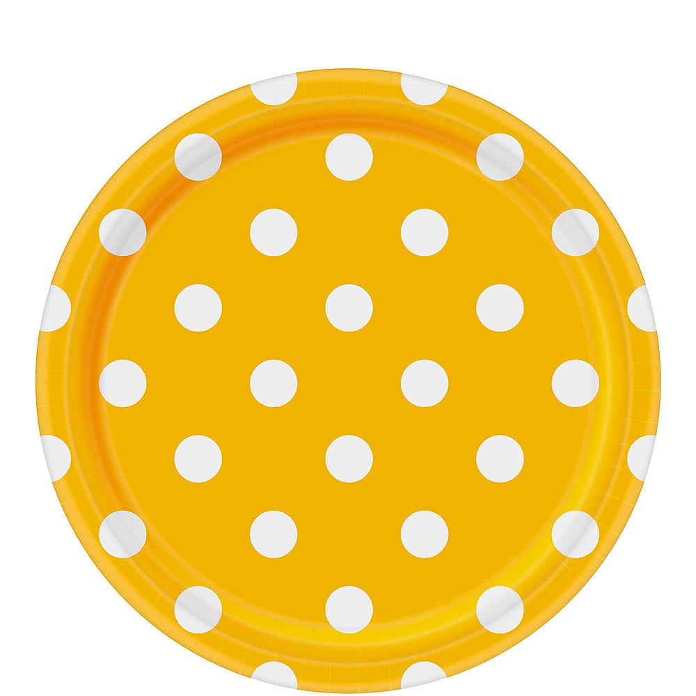 Sunshine Yellow Polka Dot Lunch Plates 8ct Image #1