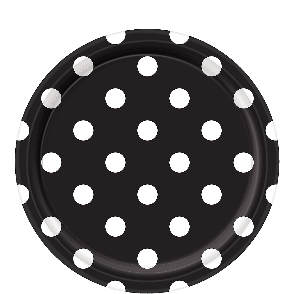 Black Polka Dot Lunch Plates 8ct Image #1