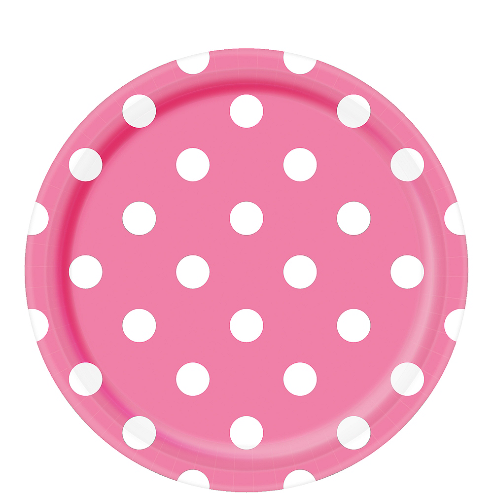 Bright Pink Polka Dot Lunch Plates 8ct Image #1