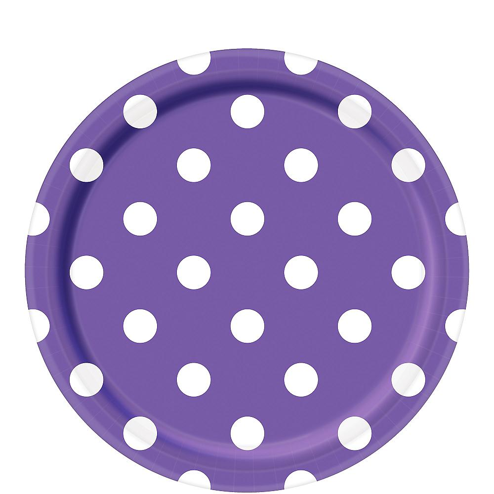 Purple Polka Dot Lunch Plates 8ct Image #1