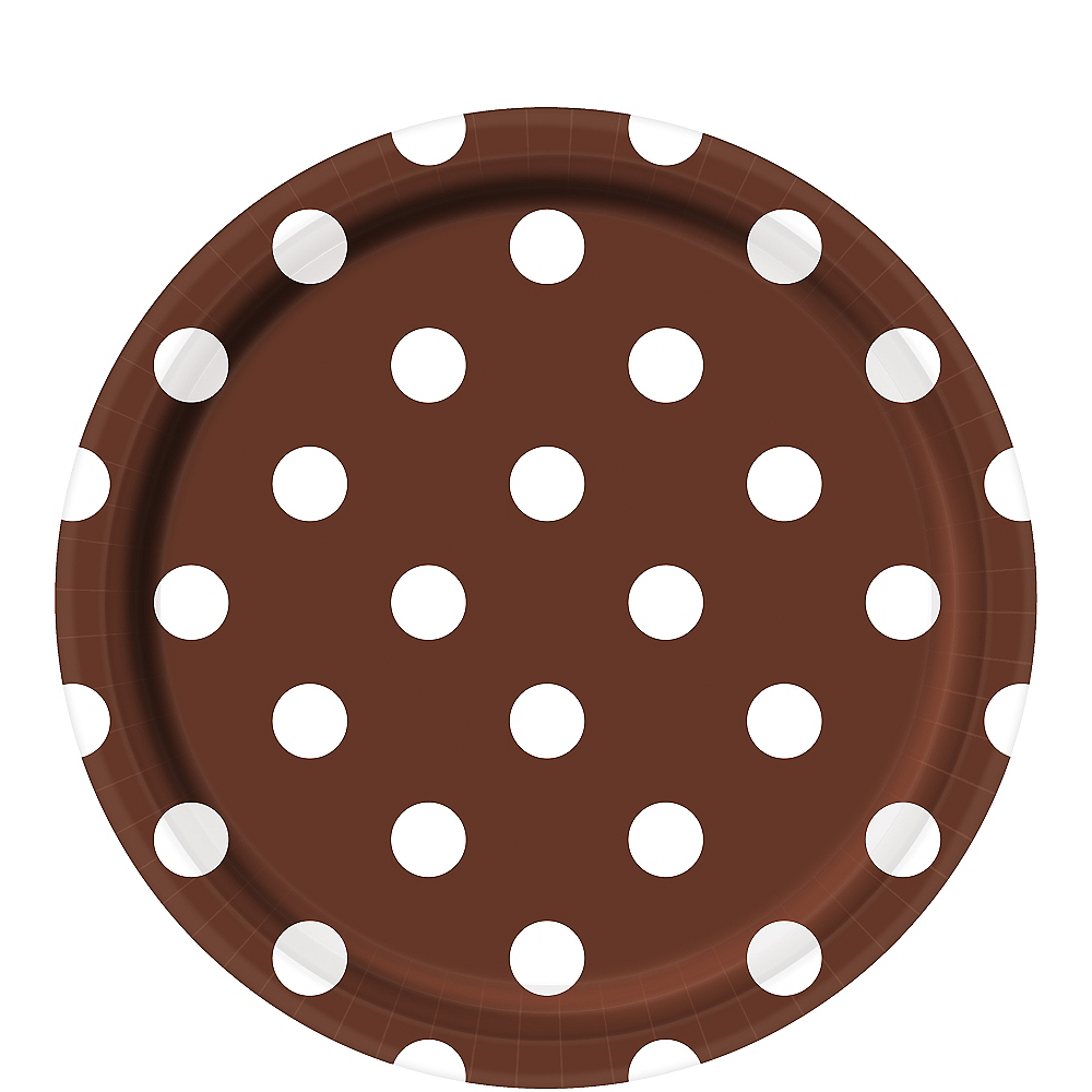 Chocolate Brown Polka Dot Lunch Plates 8ct Image #1