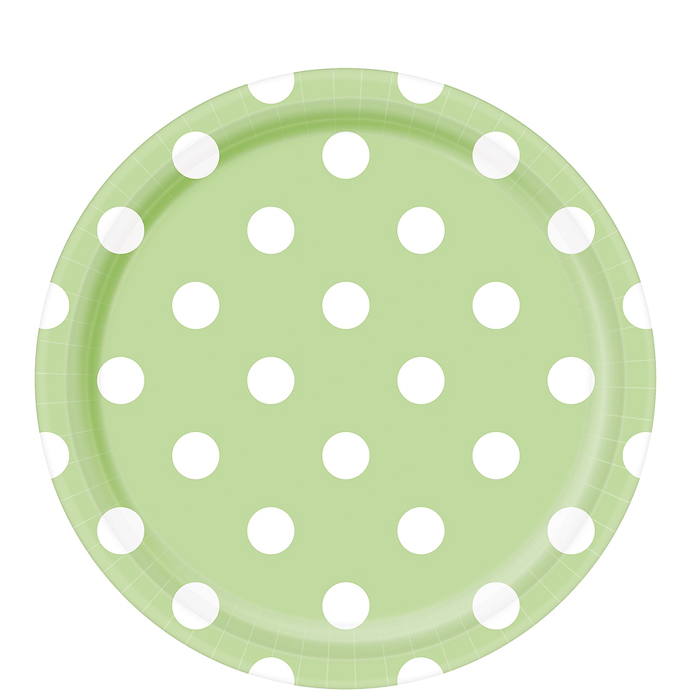 Leaf Green Polka Dot Lunch Plates 8ct Image #1