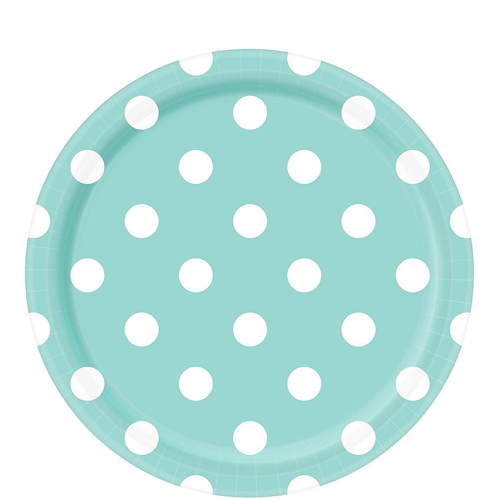 Robin's Egg Blue Polka Dot Lunch Plates 8ct Image #1