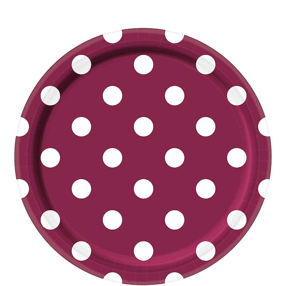Berry Polka Dot Lunch Plates 8ct Image #1