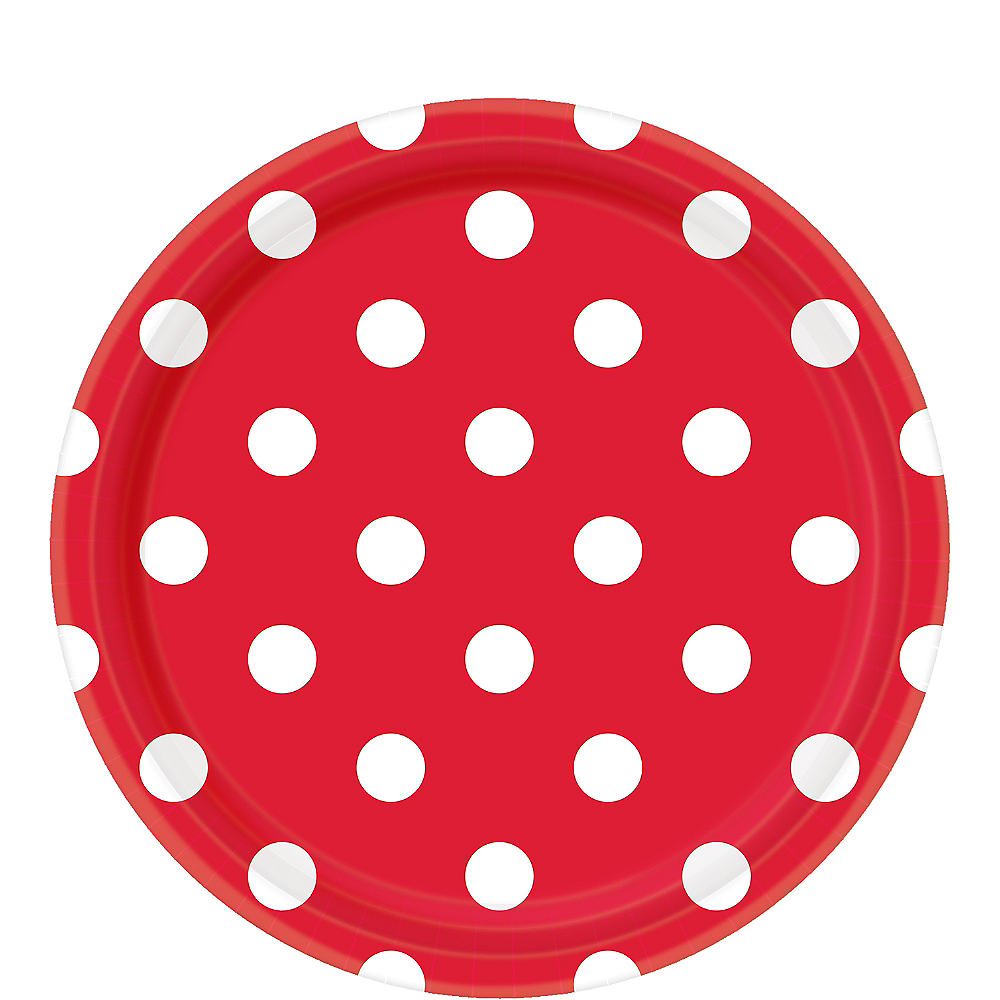 Red Polka Dot Lunch Plates 8ct Image #1