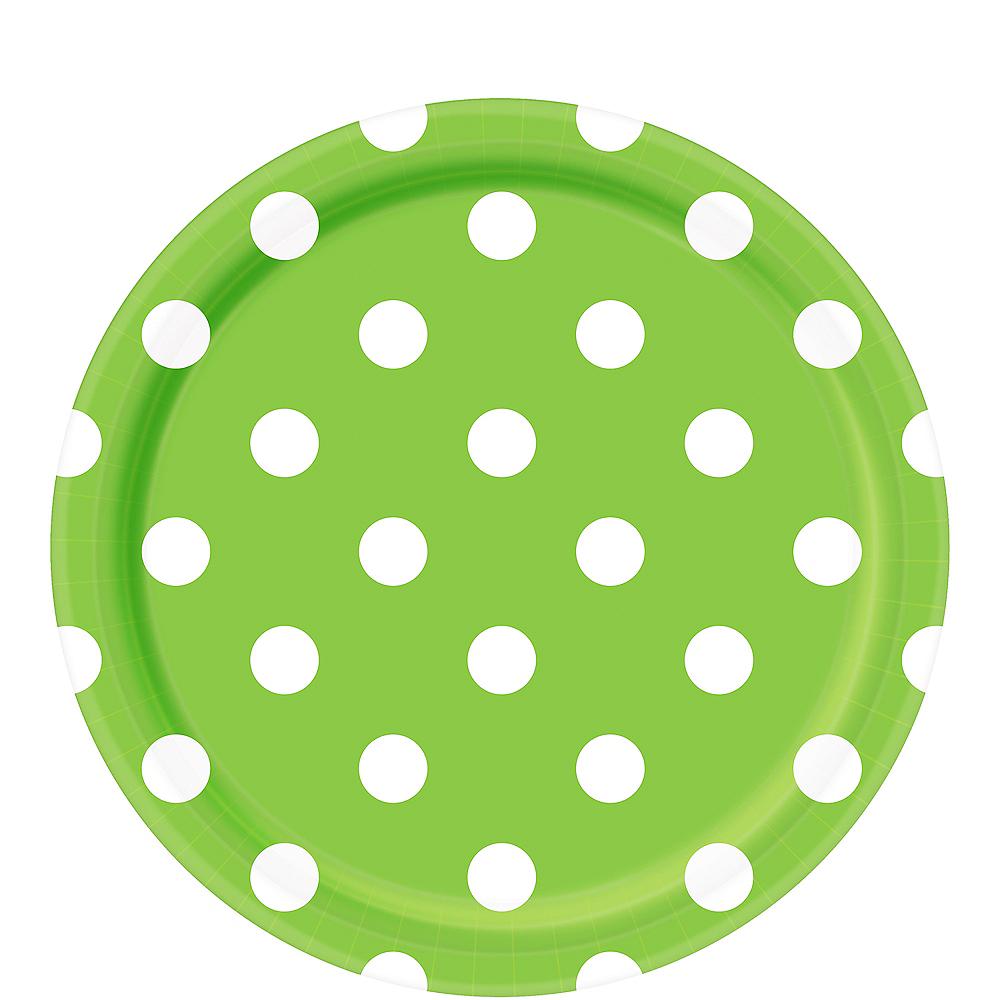 Kiwi Green Polka Dot Lunch Plates 8ct Image #1