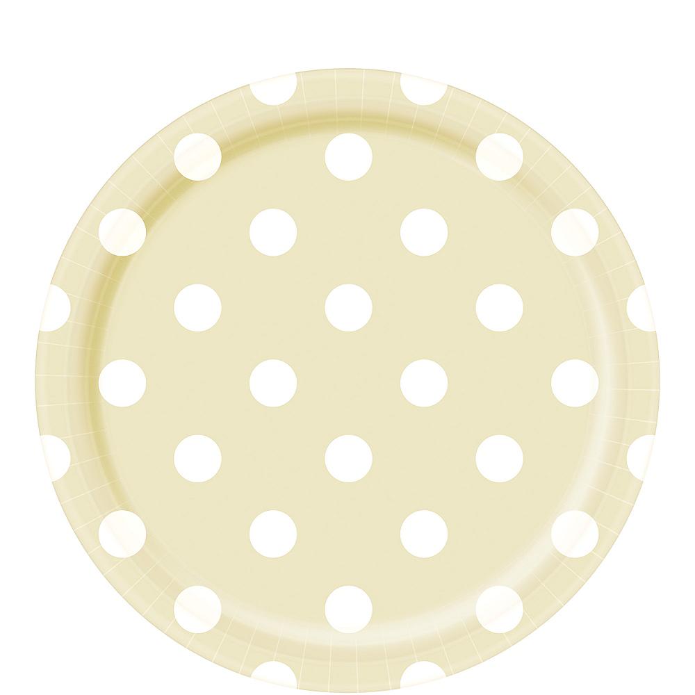 Vanilla Cream Polka Dot Lunch Plates 8ct Image #1