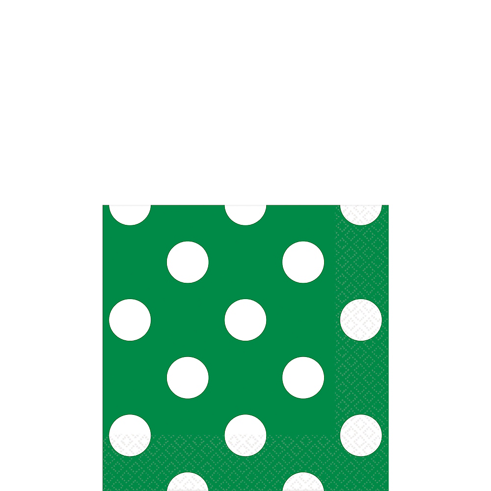 Festive Green Polka Dot Beverage Napkins 16ct Image #1
