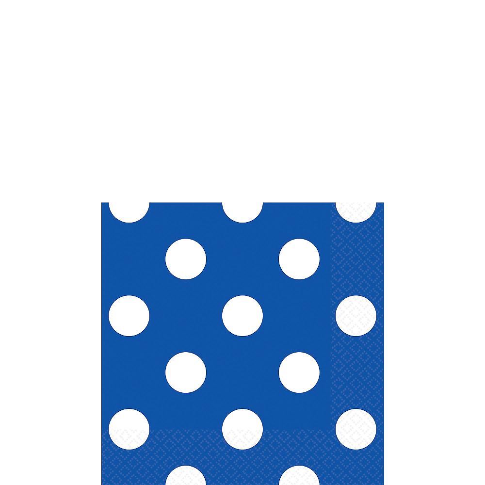 Royal Blue Polka Dot Beverage Napkins 16ct Image #1