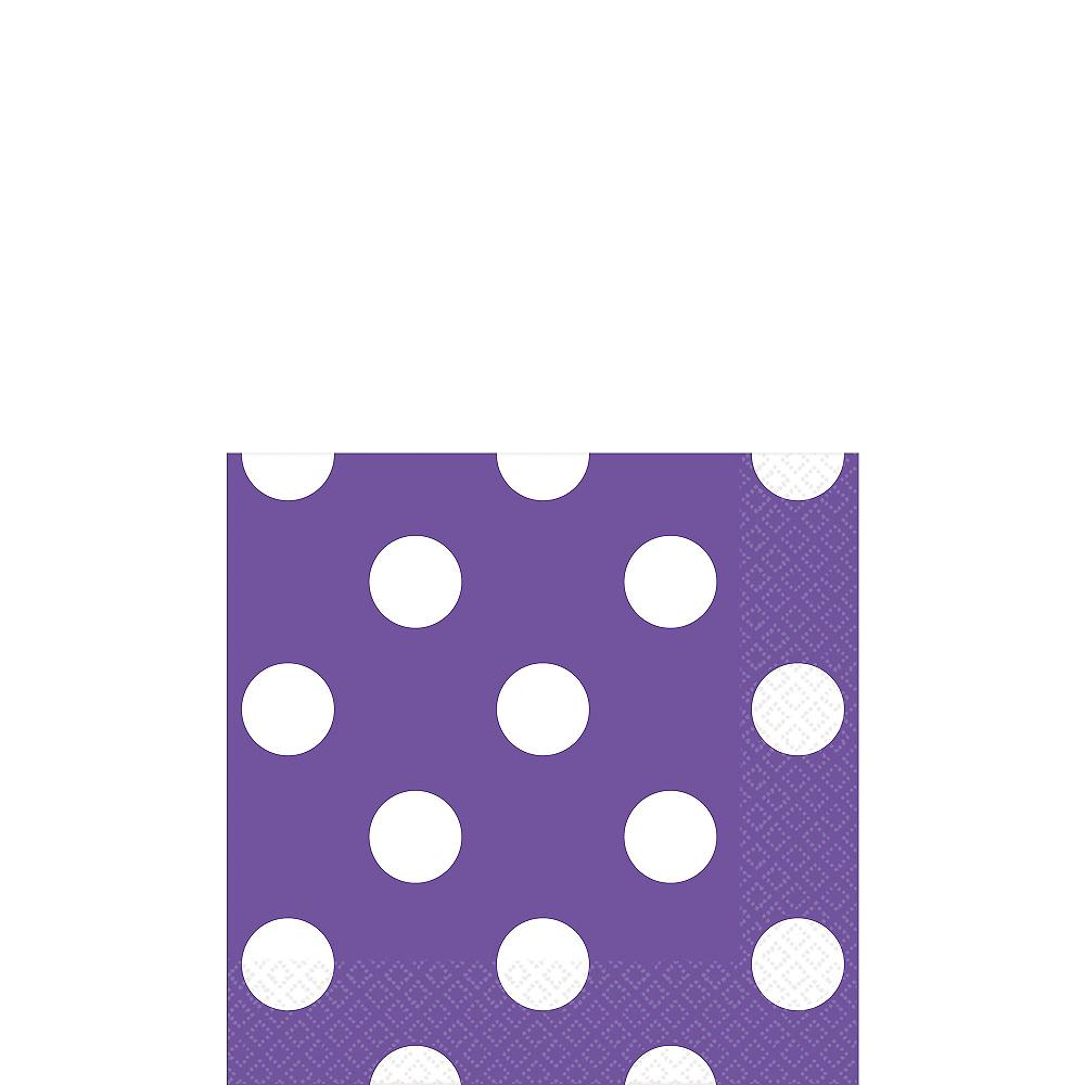 Purple Polka Dot Beverage Napkins 16ct Image #1