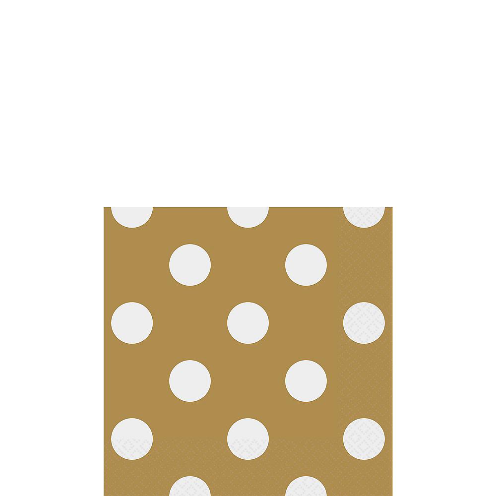 Gold Polka Dot Beverage Napkins 16ct Image #1