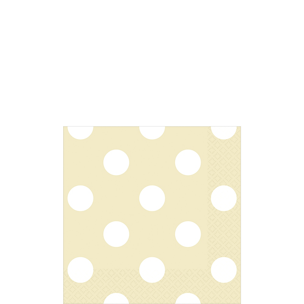 Vanilla Cream Polka Dot Beverage Napkins 16ct Image #1